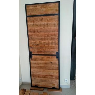 porte placard coulissante suspendue fer et bois AC19-PL01