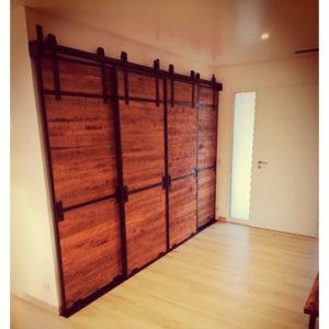 portes placard coulissantes suspendues fer et bois