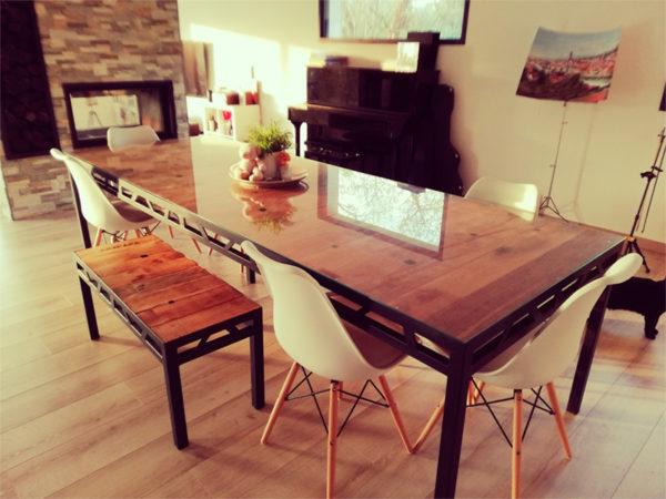 table sejour fer et bois modele eiffel AC19-TS01