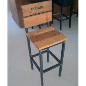 tabouret haut fer et bois avec dossier AC19-T001